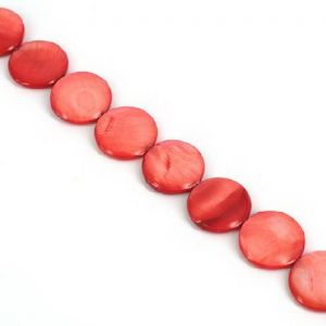 Natural shell beads - flat circle, red, Disc shape, 20mm x 1mm, 10 Piece, (PKZ026)
